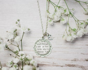 Shakespeare, Though She Be But Little She Is Fierce, A Midsummer Night's Dream, Necklace, Play, Literary, Quote Jewelry, Book Gift,Book Nerd