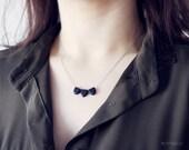 triangular - minimalist black geometric necklace / dainty modern jewelry / gift for her