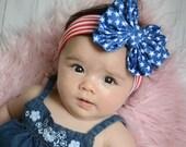 Patriotic Messy Bow head wrap, READY TO SHIP (priority mail), baby head wrap, bow headband, 4th of july headband, large bow headbands