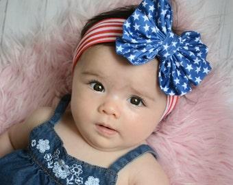 SALE Patriotic Messy Bow head wrap,baby head wrap, bow headband, 4th of july headband, large bow headband, memorial day headband