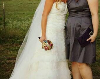 "Wedding Veil Waltz Knee length Two Tier 108"" Width  58"" Length Satin ribbon edge Black Pink Red Purple Ivory"
