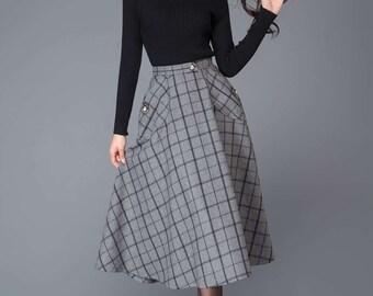 Gray Skirts, wool skirt, midi skirt, womens skirts, plaid skirt, skirt with pockets, winter skirt, plaid wool skirt, wool plaid skirt  C1005