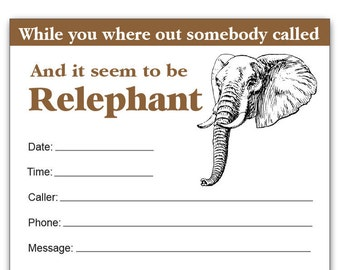 Guajolote Prints Relephant Phone Message Pad 4.25 x 5.5 Inches, While You Where Out Creative Notepad Idea