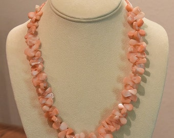 Coral Lei Necklace and Matching Earrings