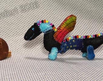Mini Patchwork Dragon No. 27 - Dollhouse Miniature Stuffed Animal - Artisan OOAK