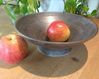 Pottery Fruit Bowl Made in UK Perfect Wedding Gift idea - matt pebble black