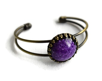 Purple and Black Bangle, Purple Resin Bangle, Boho Style Jewellery, Unusual Bracelet, Bronze Bangle, Gifts for Her