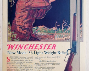 1924, Winchester Model 53, ad from National Sportsman Magazine, Vintage
