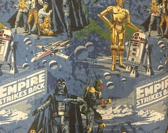 Set of 2 Vintage Star Wars Empire Strikes Back Curtains! 1979 Black Falcon