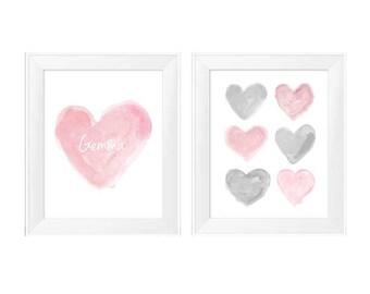 Pink and Gray Nursery, 11x14 Set of 2 Watercolor Prints, Pink and Gray Decor, Pink and Gray Art, Pink Gray Wall Decor, Girl's Nursery Decor