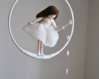 Wool doll /Nursery Mobile  / Wall Hanging Waldorf inspired  : White fairy with stars and crystal drop