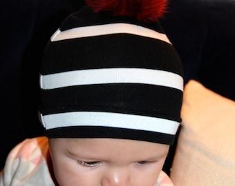Baby Black and white stripe beanie