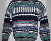 Vintage '80s Concrete Mix - Crewneck Sweater - Medium - Multi Color Long Sleeve