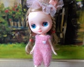 Pink mohair knitting romper for middie blythe and similar size dolls