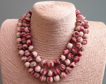 Vintage Necklace - Vintage Beads - Vintage Three Strand Necklace - Frosted Bead Necklace - Cream - Raspberry - Pink - Gold - Hong Kong