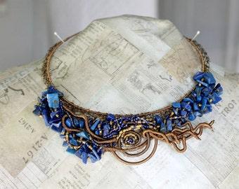 Bib Necklace, Lapis Lazuli Necklace, Blue Gemstone, Blue Stone, Lapis Jewelry, Brass Wire, Crochet Wire Jewelry, One-of-a-Kind Necklace
