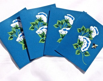 Note Cards Hand Painted Blue All Occasion With Blue and White Flowers, Teacher Gift, Bus Driver Gift, Hand Painted Cards, Gifts For Mom