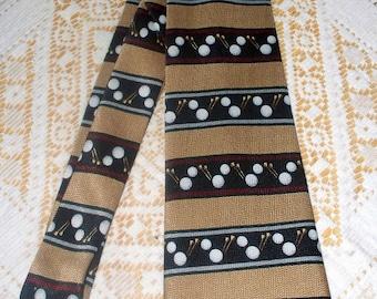Vintage A. Rogers Men's Tie  - 100% Silk - Handmade - Golf - Novelty Tie