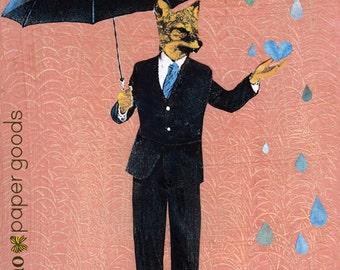 Dapper Fox Art Print | 8x10 Fox Holding Umbrella | Retro Dressed Up Fox | Animals in Clothes | Pink Fox Art | Rainy Season | Sun Shower