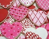 Local Pickup only.  One Dozen Valentine's Day Cookies-Assorted Handmade Decorated Sugar Cookies