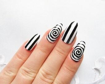Burton Stripes&Swirls Stiletto Nails, Fake Nails, Press on, Nails, Acrylic Nails, Goth, False Nails, Halloween, Black and White