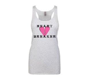 Heart Breaker Shirt - Long Tank Top. Long Length Tank. White Black Pink Purple or Blue