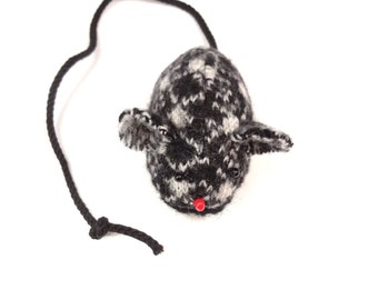 Black white mouse Felted wool mouse Refillable catnip pocket Wooly mice Washable cat toy Eco friendly pet toy Upcycled sweater