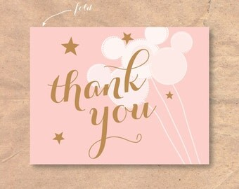 Instant Download / Printable Disney Baby Shower Thank You Card: Mickey Balloons