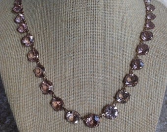 "CAVIAR DREAMS Art Deco Rose Colored Open Backed Graduated Czech Glass Necklace - 18"" - Etsy andersonhs"