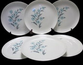 Taylor Smith Taylor Mid Century Blue Bonnet Pattern - Turquoise and Grey Ever Yours Shape - Dinner Plates (Set of 7)