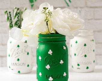 Shamrock Mason Jar - St. Patrick's Day Mason Jar - Painted Distressed Mason Jars