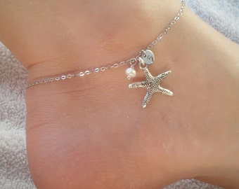 Silver starfish anklet with freshwater pearl and initial  , initial anklet