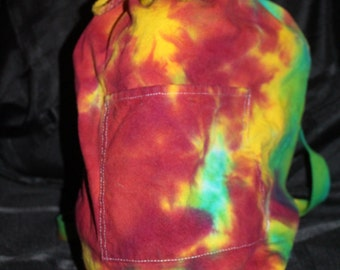 "Tie Dye Drawstring Duffle/Duffel Backpack 14.5""x17"""