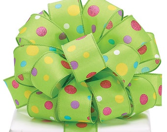 Ribbon LIME GREEN satin multi-color P0KLKA D0TS  Wired edge.- WREATHS, Spring Garlands, Hair Bow, Floral ,Packaging Supply, Lilly