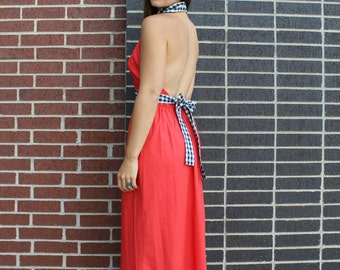 Vintage 1970s Red and Black Gaymode Gingham Halter Backless Maxi Dress