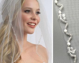 Wedding Veil, 1 Layer, Crystal Wedding Veil, Pearl Bridal Veil, Veil in Ivory & White, Elbow Veil, Fingertip Veil, Cathedral Veil ~VB-5004