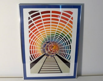 "Leonard Janklow Signed Framed Lithograph "" Friends For Life "" Kinetic Op Art Abstract Modern Rainbow Tunnel Print"