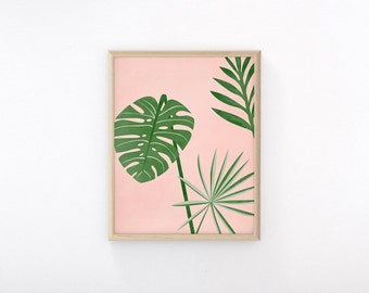 "Printable Art ""Plants On Pink III"", Palm Leaf, Monstera, Tropical Print, Wall Art Print, Tropical Leaves, Banana Leaf, Snake Plant"