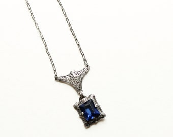 Vintage Art Deco Sterling Filigree Necklace, Blue Glass Stone, Art Deco Period, Circa 1920's