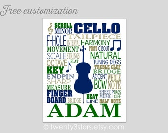 Cello Typography Canvas or Art Print, Choose Your Colors, Perfect Gift for any Music Lover or Cellist, Cello Canvas, Cello Teacher Art