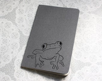 Frog print note book | Grey | Moleskine | Cahier Journal | Lined pages | Lino print | Handmade | Pocket size |