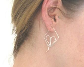 Silver Hoop Earrings, Diamond Earrings, Sterling Silver, Spiral Hoops, Wire Earrings, Swirl Hoops