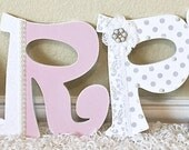 Custom nursery letters baby name wooden wall letters shabby chic pink and gray nursery decor- The Rugged Pearl