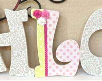 Wooden Letters for Nursery, Wall Hanging Letters-Baby Name- Girl Room Nursery Decor -Painted and decoupage- The Rugged Pearl
