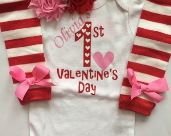 Baby Girl Outfit - Baby Valentines Day outfit - 1st valentines day outfit -personalized valentines - heart outfit sizes preemie-24 month