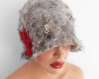 Felted Hat Cloche Hat grey Flapper hat Raw Wool wearable art art deco wool felt nunofelt nuno felt silk