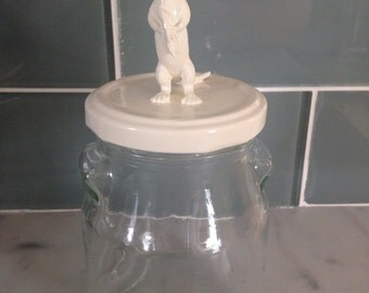 Recycled Glass Jar - River Otter in Creamy White