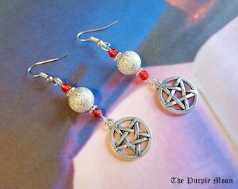 Red Crystal Earrings, Pentacle Earrings, Sparkle Earrings, Witch Jewelry, Goddess Jewelry, Sparkle Jewelry, Pentagram Jewelry, Wiccan, Pagan
