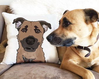 Custom Pet Illustration Pillow/Throw Pillow/Pet Pillow/ Dog Lovers gift/Pet lovers gift/Under 75 Dollars /Pet Portrait Pillow/ Pet cartoon
