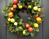 Fruit Wreath, Apple Orange Lemon Lime Pear Wreath, Fruit Decor, Kitchen Wreaths, Fruit Door Wreath, Lemon Wreaths, Lemon Decor